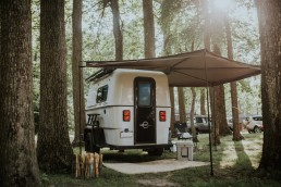 Lightweight travel trailer in Iowa campground